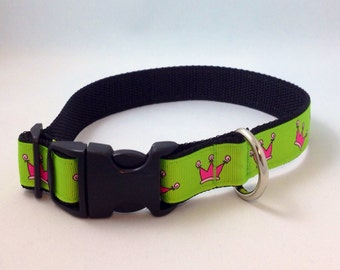 Green Dog Collar with Pink Crowns