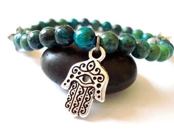 Hamsa Hand Bracelet, Turquoise Howlite, Silver Hamsa Hand, Beaded Yoga Bracelet
