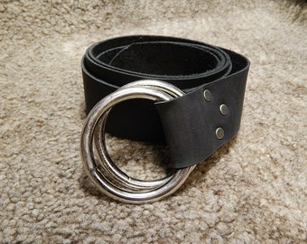 Medieval leather belt with double o ring, black or brown, reenactment, larp, sca