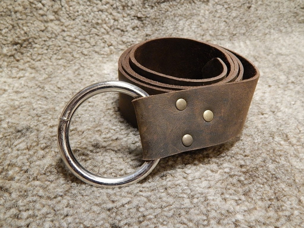 leather belt with o ring black or brown