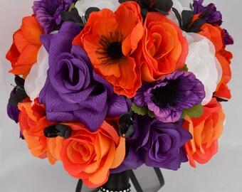 "17 Pieces Wedding Bridal Bride Maid Of Honor Bridesmaid Bouquet Boutonniere Corsage Silk Flower Black PURPLE ORANGE ""Lily Of Angeles"" ORPU02"