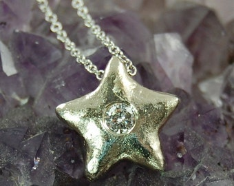 Star Necklace in Recycled 14K White Gold,  Diamond Star Necklace,Diamond Necklace,Small Star Necklace,Delicate Diamond Necklace,Star Jewelry