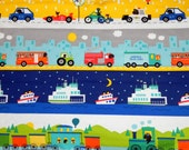 Baby Boy Blanket - Bus, train, boat, truck and airplane - Blue Minky - Primary colors