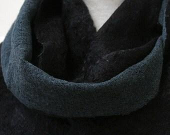 Hand Dyed, Nuno Felt Scarf on Cotton, Jet Black