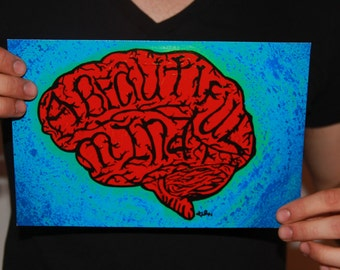 A beautiful mind brain pink blue psychedelic like andy warhol art photo print. Smart art. Neon bright