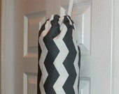 Fabric Plastic Grocery Bag Holder Dispenser Best Selling Item Kitchen Organizer Grey and White Chevron Design Most Popular Item Gift