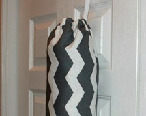 Fabric Plastic Grocery Bag Holder Dispenser Best Selling Item Kitchen Organizer Grey and White Chevron Design Most Popular Item Gift