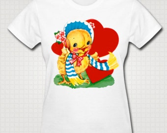 Vintage Valentine Ducky Loves You T-shirt