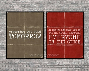Inspirational Exercise Posters Motivational Fitness Work Out Art Print Brown Red Distressed Rustic Typography 2014 Resolution Athlete