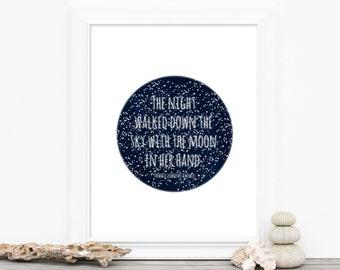 Galaxy Art Print Star Print - Star Night Sky Moon - Star Print Circle Round Digital Typography Quote Poster Print