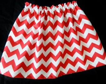 Tween, girl, toddler and baby red and white chevron fabric SKIRT in sizes NB 3m 6m 12m 18m 24m 2t 3t 4t 5T 6 7 8 10 12 14 16