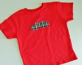 Classy boy, tween, toddler, baby red or white SHIRT or onesie with plaid black and white mustache applique NB - 16 fun for Valentines