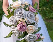 Great Gatsby Book Page and Paper Bridal Cascade Bouquet with Silk Greenery