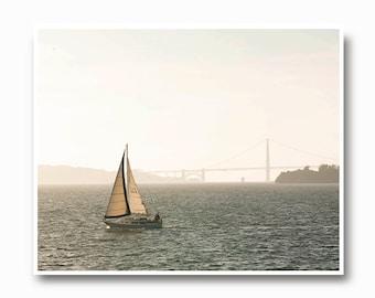 Sailboat Photography, boat, San Francisco Bay, sailboat photo, boat, art print coastal living, shore, seashore, gray