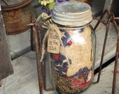 Americana Red White Blue Quart Canning jar Stars Pin Cushion Pin Keep Farmer's Market Summer