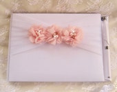 Wedding Guest Book and Pen Set  - Guest Book, Blush Blossoms, Pearls and Crystals and tulle