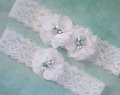 Something Blue Wedding Garter, White Garter Set with Toss Garter, Aqua Blue Pearls, Bridal Garter with Chiffon Blossoms