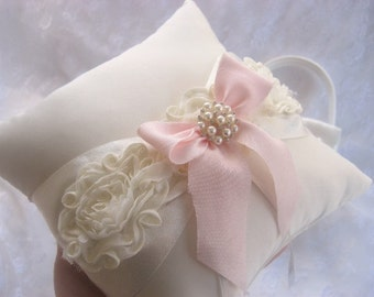 Chic Wedding Ring Pillow ..  Ring Bearer Pillow Pink Shabby Chic Vintage Ivory and Cream Custom Colors too