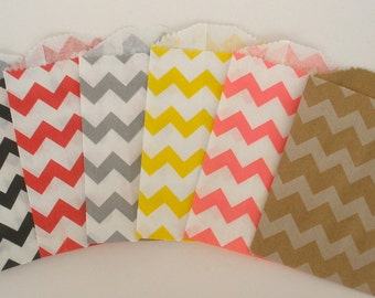"Chevron Stripe Bags, 20 Ct....Pick your Color(s)....Mini Size....4"" X 2.75""..Paper Stripe Bags Wedding Favor Bags Treat Bags Silverware Bags"