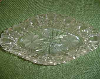 Glass Relish Dish, Diamond Shaped Glass Dish, Glass Serving Dish,  Brilliant Dish, Antique Dish, Vintage Serving