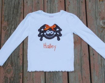 Girl's Toddlers Personalized Halloween Cute Spider Shirt
