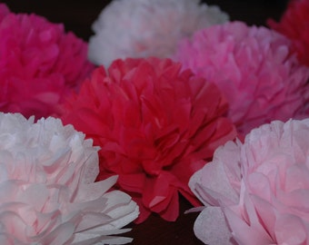 It's a girl - baby shower decorations - FREE CONFETTI!! - pink - Tissue paper poms  - 12 pcs.  pink party pom package -