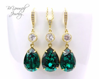 Emerald Wedding Jewelry Green Bridal Earrings Bride Necklace Swarovski Crystal Emerald Teardrop Earrings Gold Dark Green Bridesmaid Gift