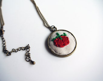 Hand Embroidered Tomato Necklace. Bronze Circle Pendant Necklace