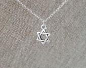 Star of David Necklace. Tiny Silver Charm. Sterling Silver Chain. Magen David. Symbolic Jewelry Hebrew Jewish Jewelry