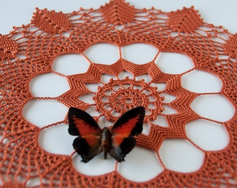 Doily, crochet centerpiece, cotton, umber rust  thread, leaf motif, 14 inches round, tabletop decor, intricate detail, heirloom quality