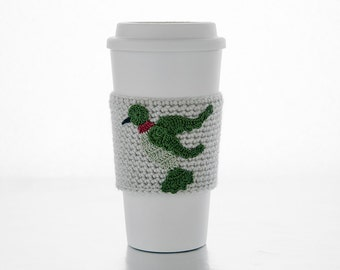 Coffee Cozy, Cup Cozy, Crocheted, Garden Hummingbird applique, Sleeve, Sage and Green,ruby throat, linen colored sleeve