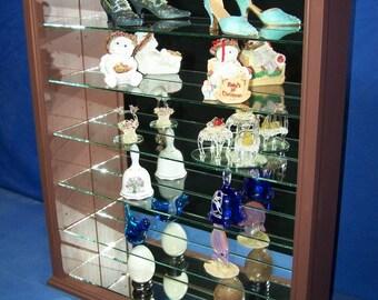 Mahogany Wood Glass Wall Curio Cabinet  Curio Shelf or Tabletop Display