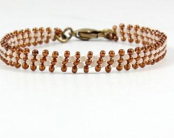 Handmade Bracelet - Copper Striped Bracelet - Seed Bead Bracelet - Daisy Chain Jewelry - Layering Bracelet - Beadwork Jewelry