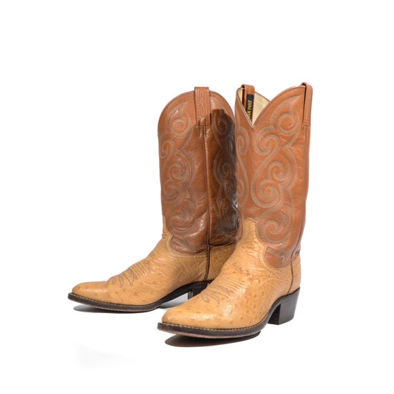9.5 D Men Dan Post Cowboy Boots Ostrich Leather Brown
