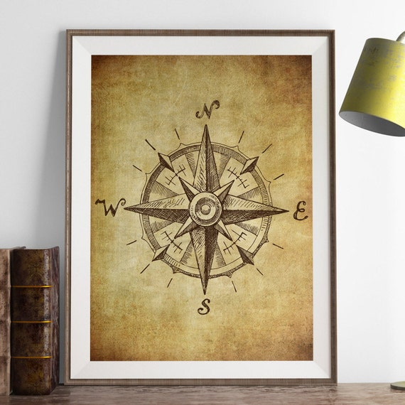 Vintage Compass Wall Decor : Vintage compass wall art print antique boys room decor by
