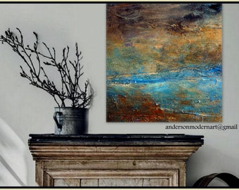 """Large Wall Art Metal Print of  Original Abstract Landscape Painting RUSTIC by Holly Anderson  29.25""""x30.00"""""""