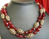Ruby Red and Rhinestones Double Bead Strand Choker Necklace