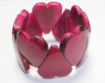 Heart Shaped Tagua Bracelet - Eco-Friendly- Boho- Bohemian