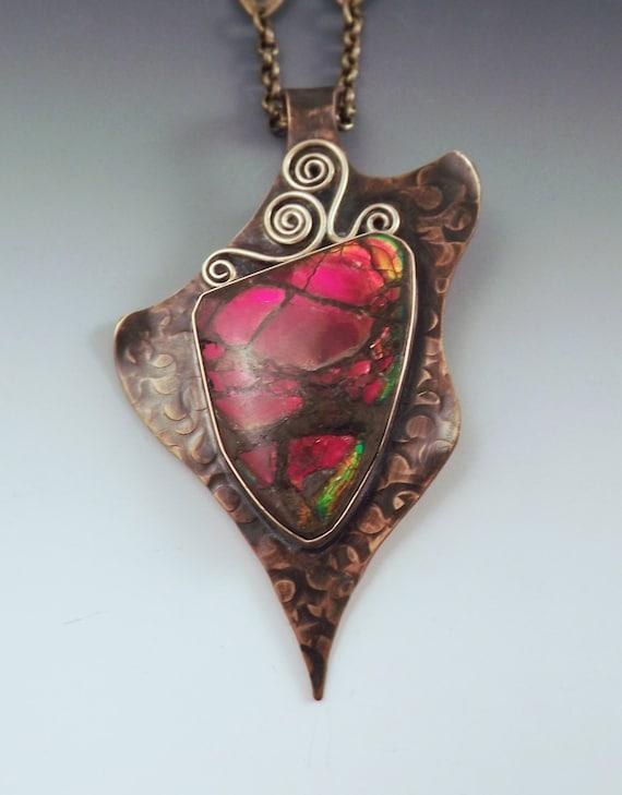 Ammolite Freeform Smokey Bronze Pendant/Necklace