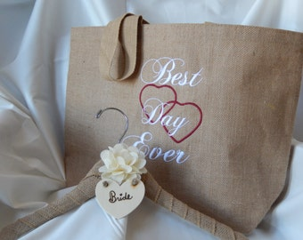 Gift For Bride, Burlap Wedding Dress Hanger & Tote Bag, Gift For Bride