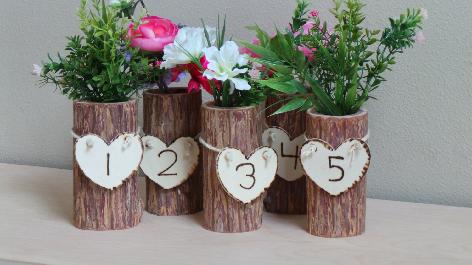 Rustic wedding decor centerpieces log vase table number