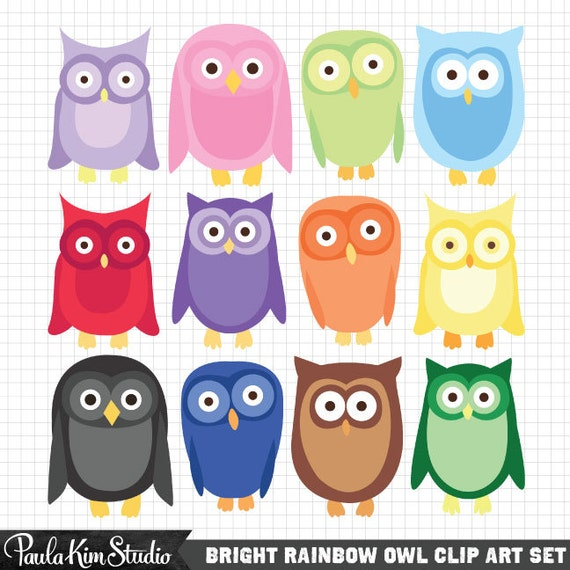 Owl Clipart Image Set, Cute Clipart, Digital Download, Commercial Use Graphics, Instant Download