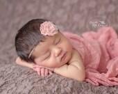 New- Heirloom Rose Headband in Vintage Pink - Wool Felt Flower Headband