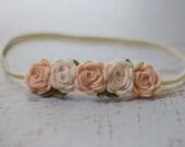 Off White and Wheat Fields Rose Garland Headband  - Newborn Baby to Adult - Wool Felt Flower Headband