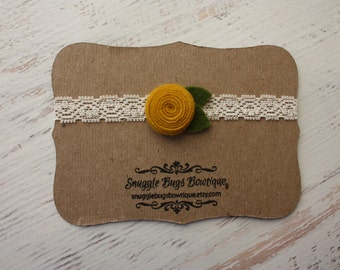 Tiny Spiral Rosette in Mustard - Wool Felt Flower and Lace Headband - Newborn to Adult
