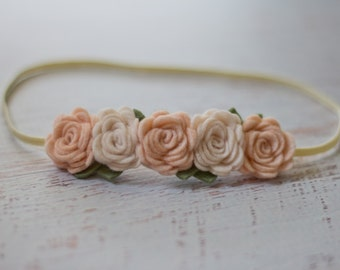 Off White and Wheat Fields Rose Garland Headband  - Newborn Baby to Adult - Wool Felt Flower Headband