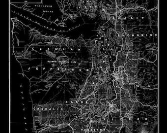Puget Sound Map Vintage Black Map Print Poster