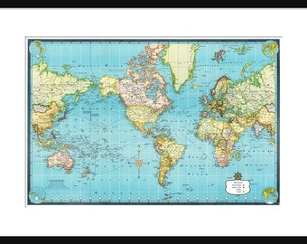 World Travel Map - World Travel Map - Vintage World Map