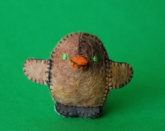 Beige and Brown Felted Baby Chicken Toy  -- Ecofriendly Small Handmade Felt Pure Wool Animal -- For all Ages Cute Felt Toy