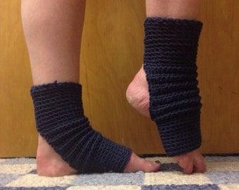 Yoga Socks in Indigo Cotton US Grown -- for Yoga, Dance, Pilates, Pedicures